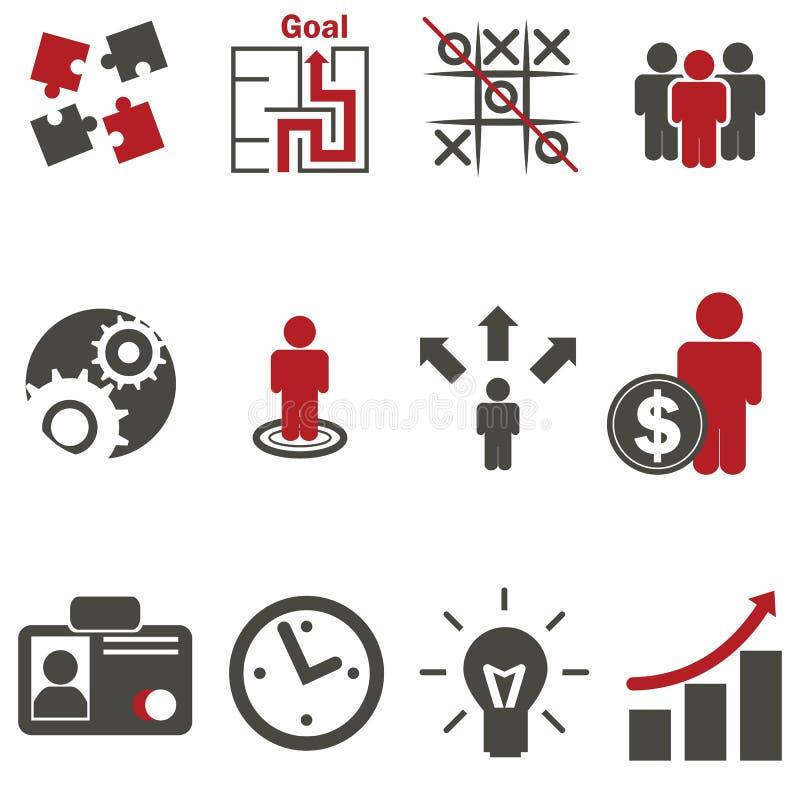 Icone di strategia aziendale impostate immagine stock