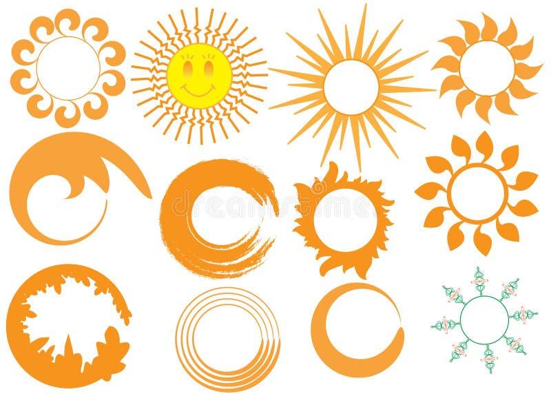 Icone di Sun impostate royalty illustrazione gratis