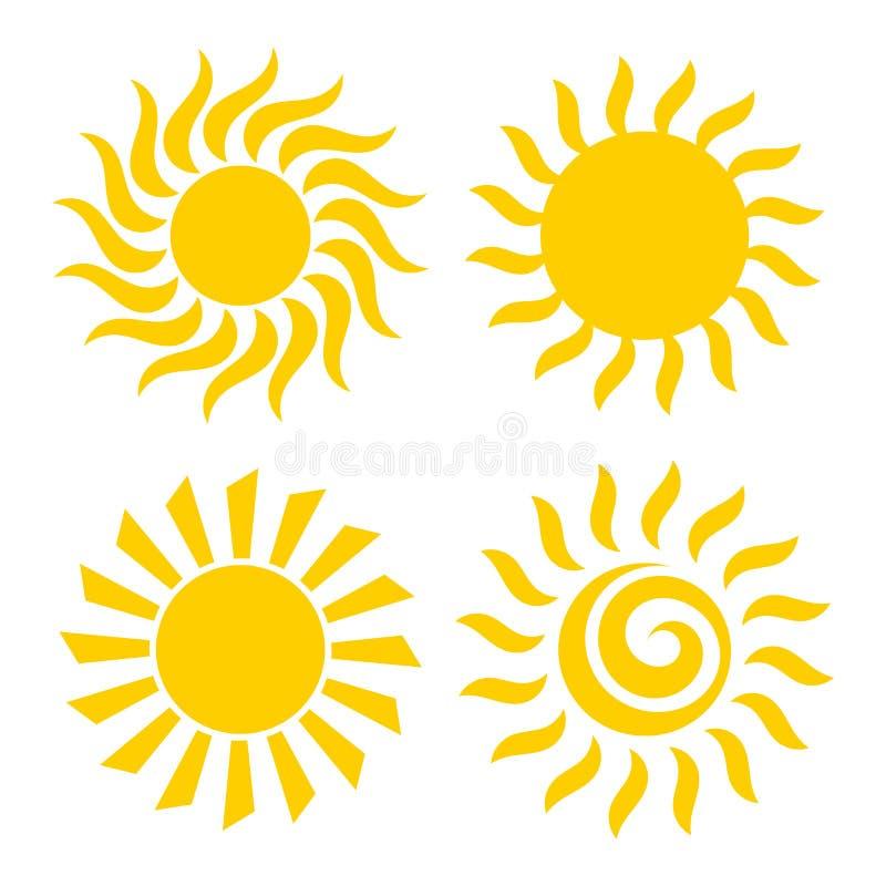 Icone di Sun impostate Illustrazione di vettore royalty illustrazione gratis