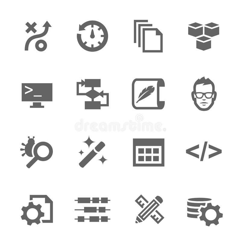 Icone di sviluppo illustrazione vettoriale