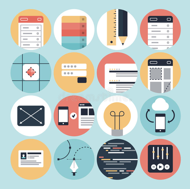 Icone di sviluppo moderno di web e di progettazione grafica royalty illustrazione gratis