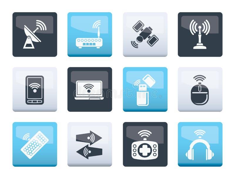 Icone di tecnologia della comunicazione e della radio sopra il fondo di colore illustrazione di stock