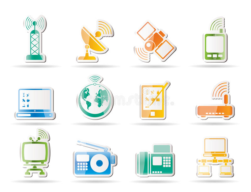 Icone di tecnologia e di comunicazione illustrazione vettoriale