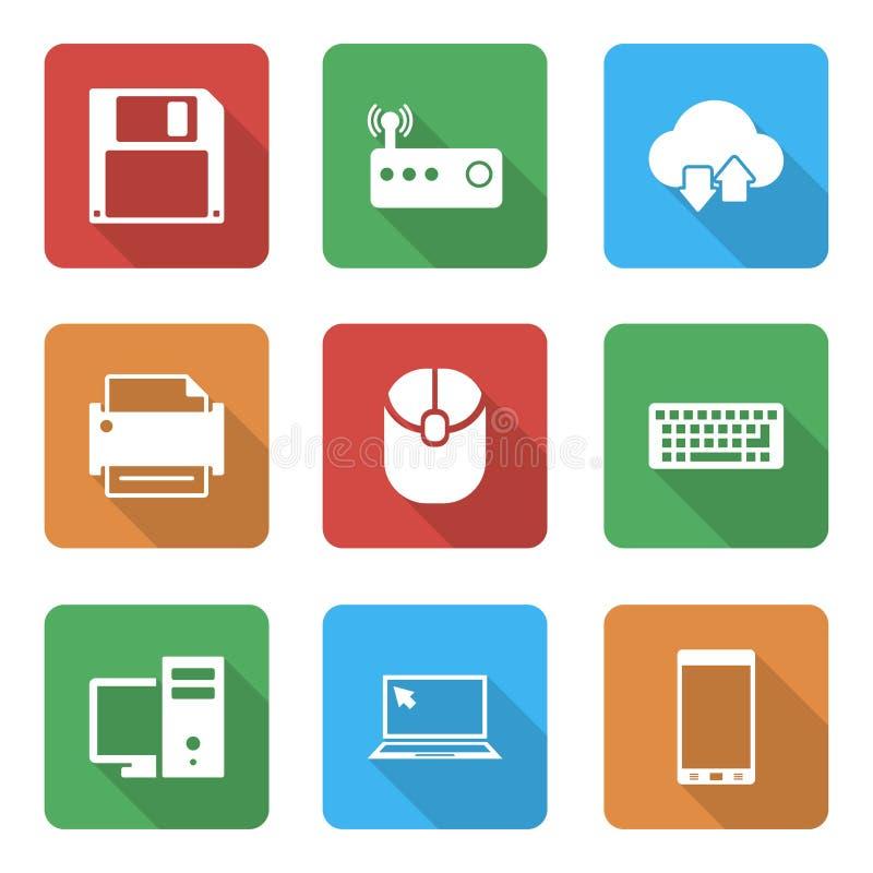 Icone di tecnologia messe con con ombra illustrazione di stock