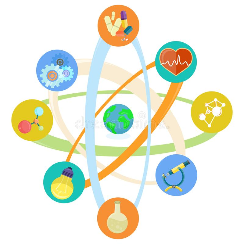 Icone di tema di scienza disposte nel modello atomico Set illustrazione vettoriale