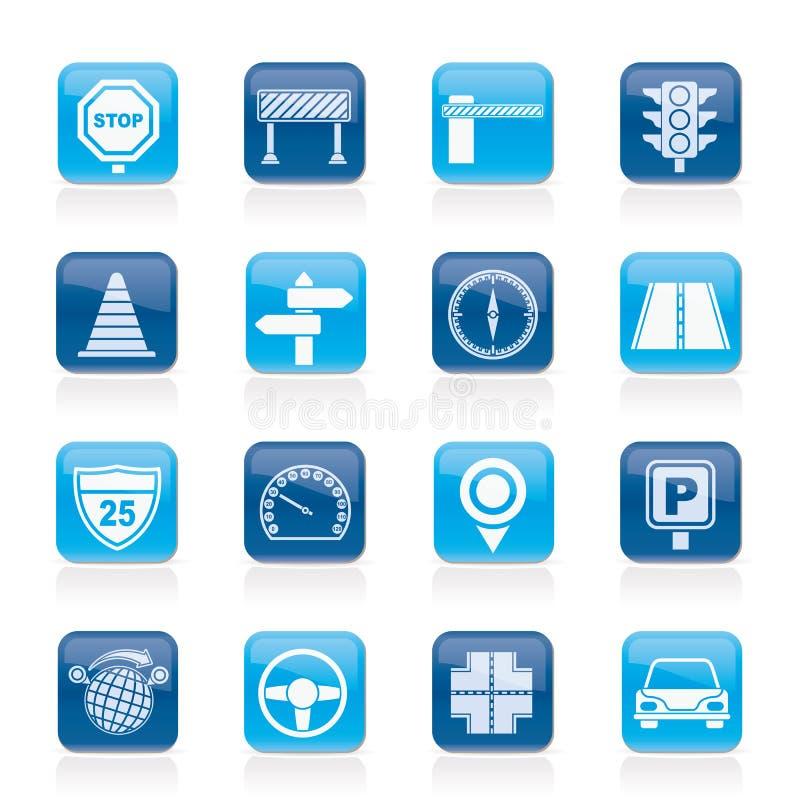 Icone di traffico e della strada illustrazione vettoriale