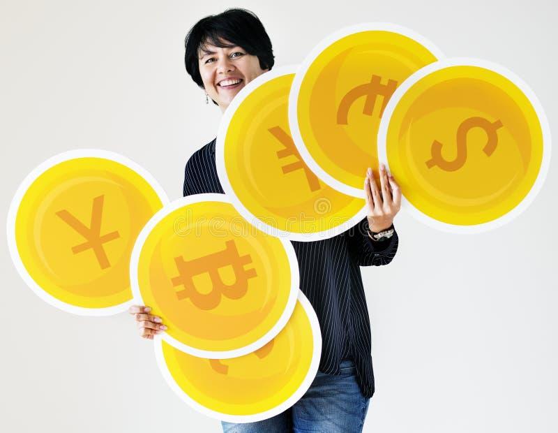 Icone di trasporto di una moneta della donna immagini stock libere da diritti