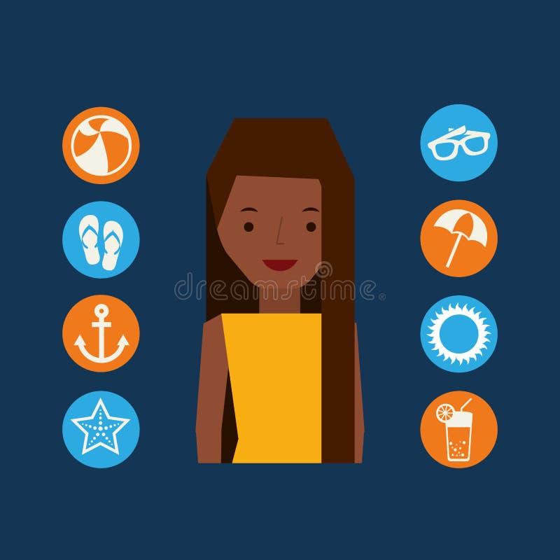 Icone di vacanze estive del carattere della ragazza di afro messe illustrazione vettoriale