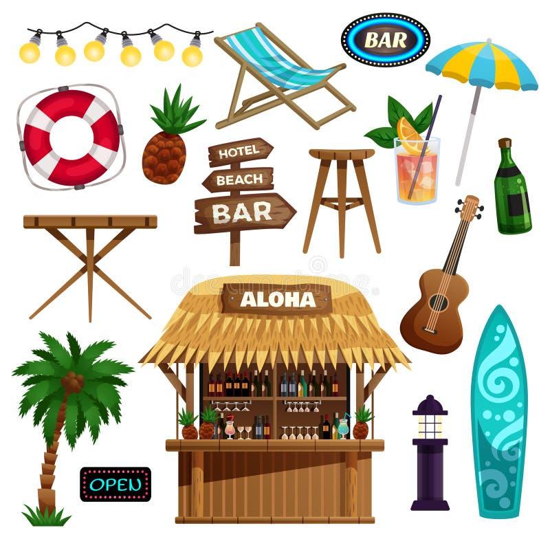 Icone di vacanze estive messe royalty illustrazione gratis