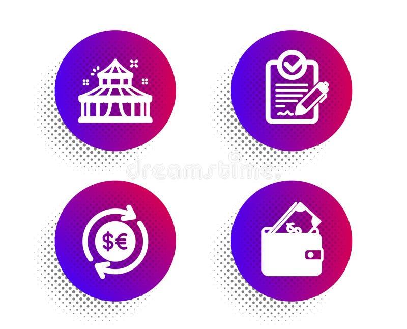 Icone di valuta, Rfp e Circus Segno di portafoglio Cambio di contante, richiesta di proposta, parco attrazione Vettore royalty illustrazione gratis