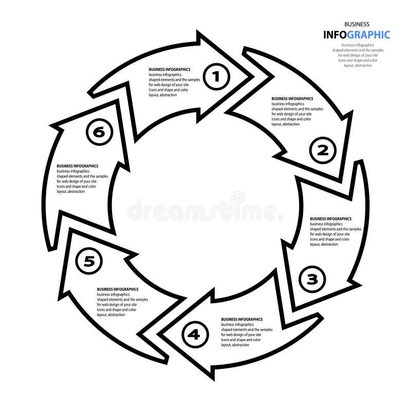 Icone di vendita di web design di Infographics della freccia per la disposizione, diagra illustrazione di stock