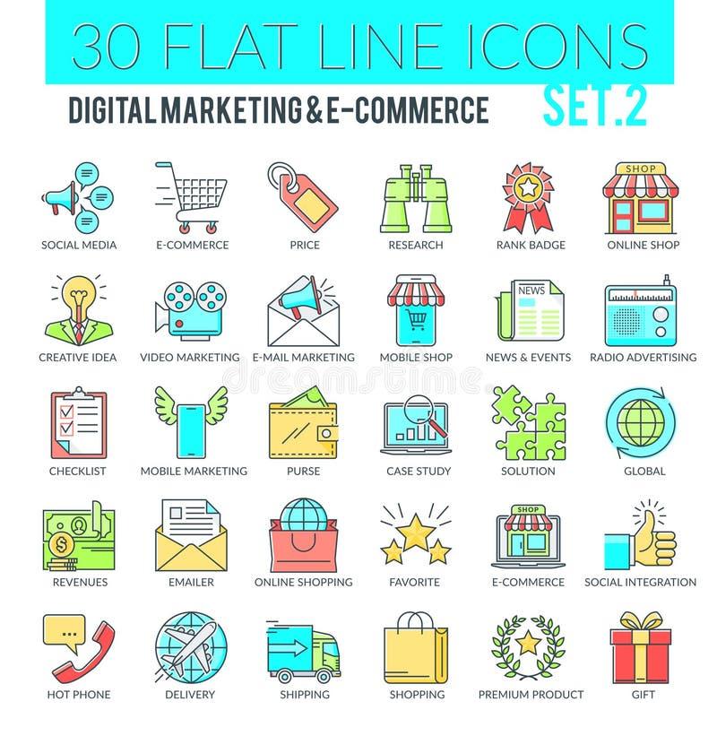 Icone di vendita e di commercio elettronico di Digital illustrazione vettoriale