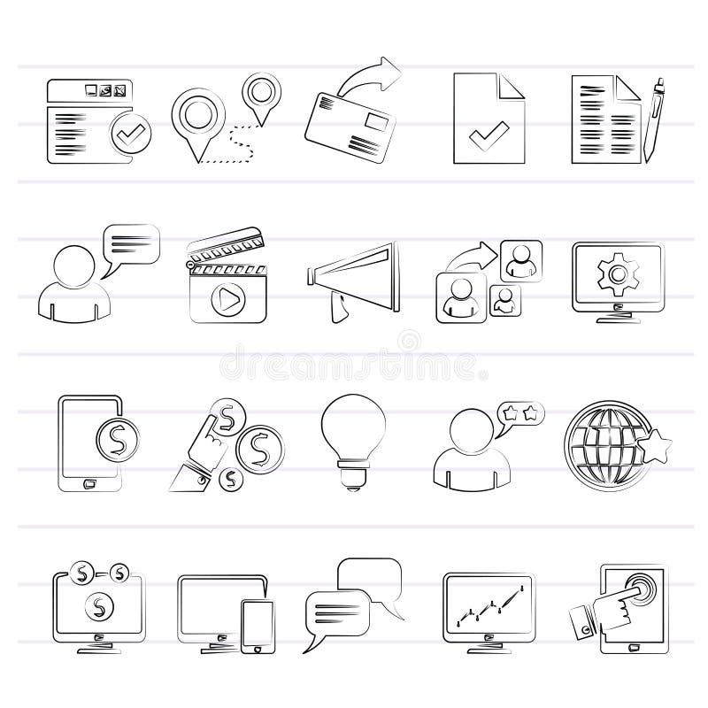 Icone di vendita e di commercio di Internet royalty illustrazione gratis