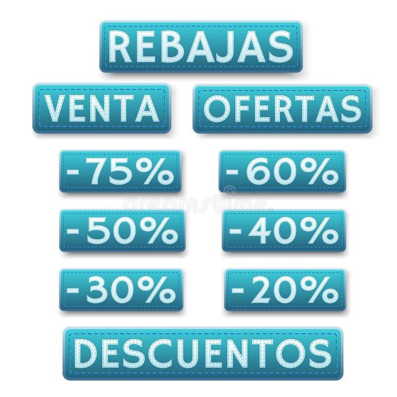 Icone di vendita nello Spagnolo illustrazione di stock