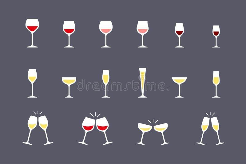 Icone di vetro di vino messe illustrazione di stock