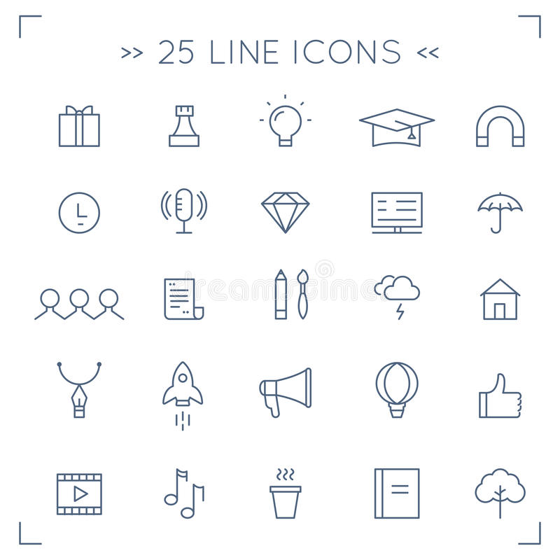 Icone di vettore allineate Minimalistic di media della Comunità e del sociale di web royalty illustrazione gratis