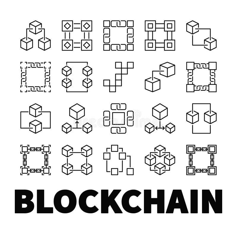 Icone di vettore di Blockchain Un insieme di 20 simboli di concetto della catena di blocco illustrazione vettoriale