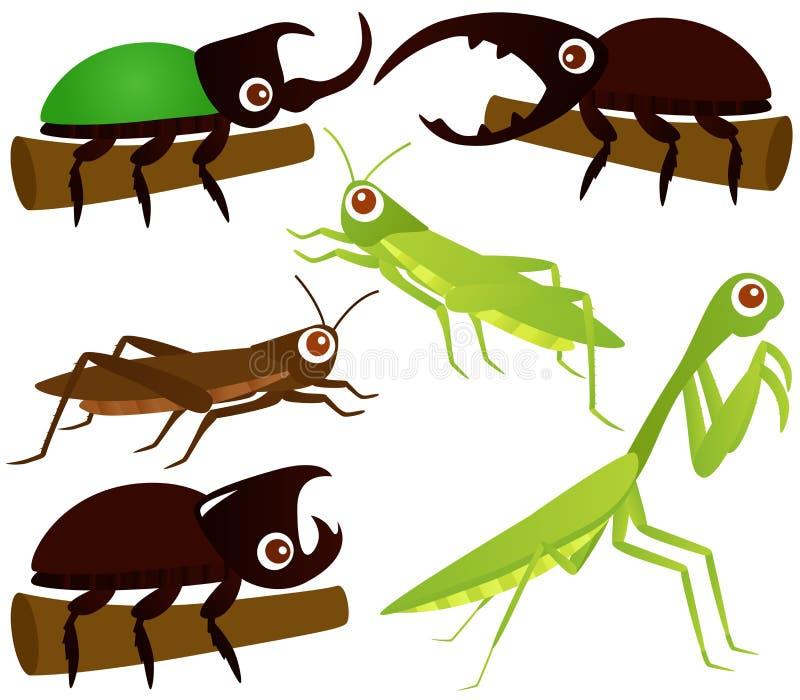 Icone di vettore: Cavalletta, scarabeo, Mantis di preghiera royalty illustrazione gratis