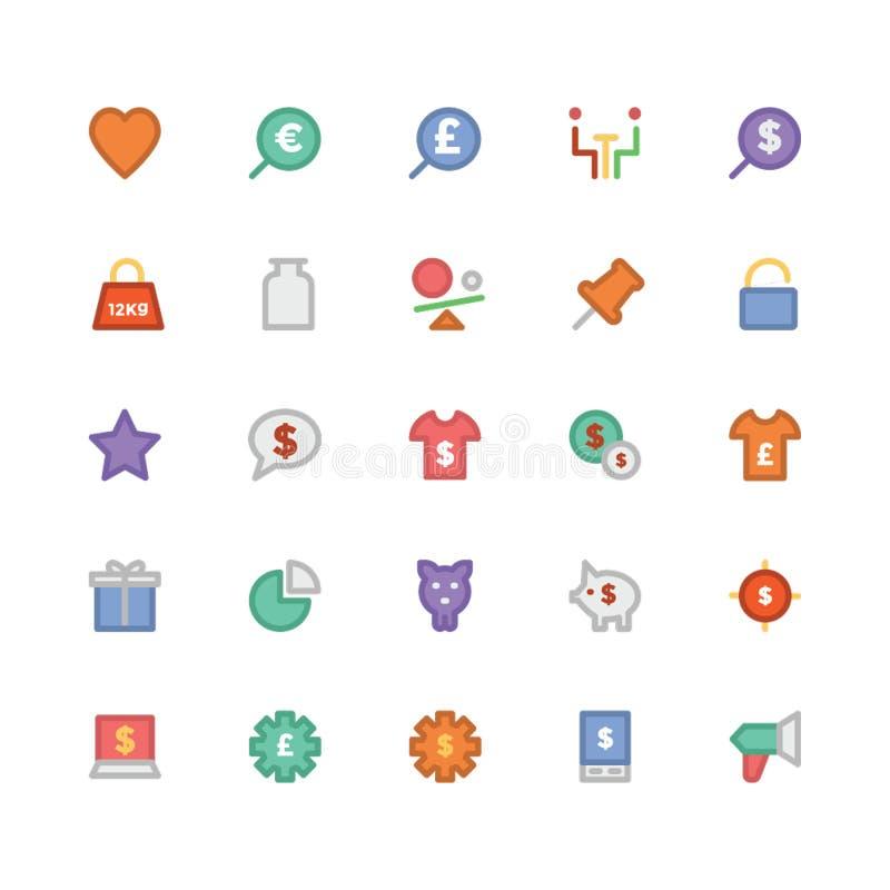 Icone 5 di vettore colorate commercio royalty illustrazione gratis