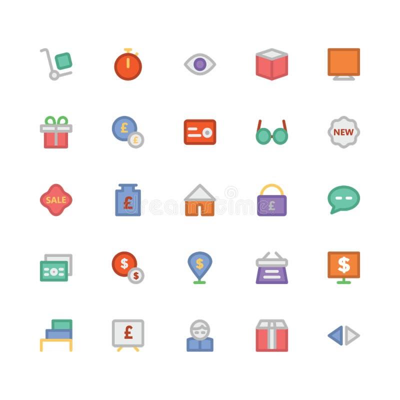 Icone 2 di vettore colorate commercio illustrazione vettoriale
