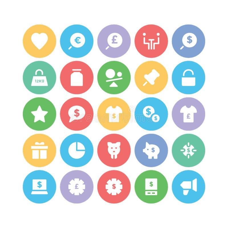 Icone 5 di vettore colorate commercio illustrazione di stock