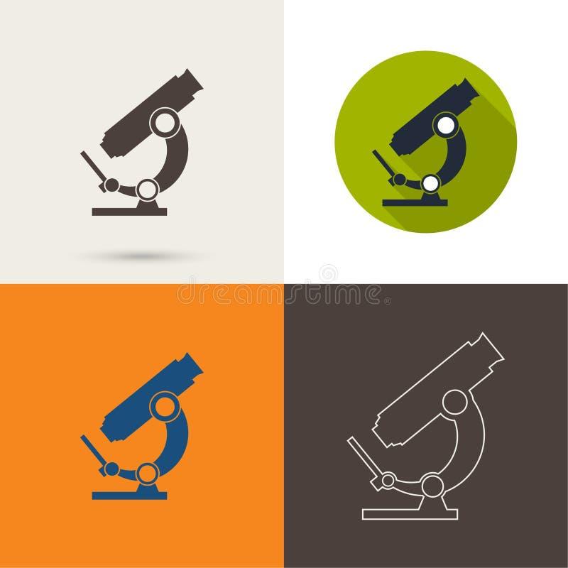 Icone di vettore con un microscopio illustrazione di stock