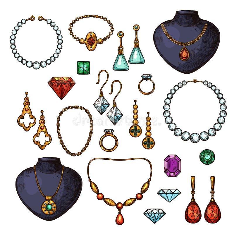 Icone di vettore degli accessori di modo del gioiello dei gioielli royalty illustrazione gratis