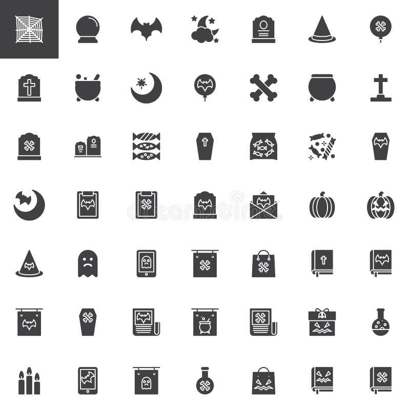 Icone di vettore degli elementi di Halloween messe illustrazione di stock