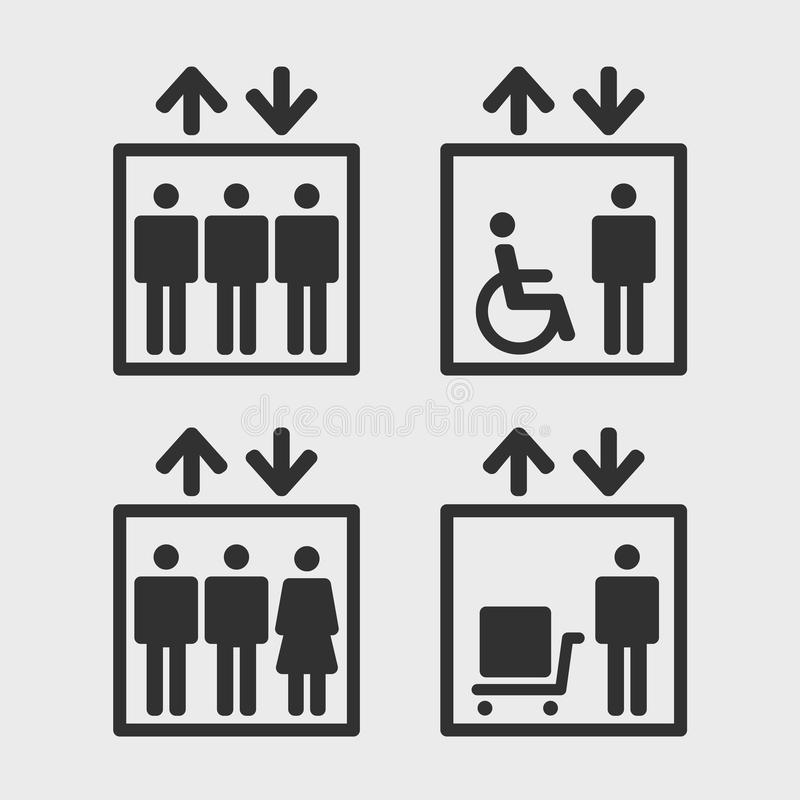 Icone di vettore degli elevatori illustrazione vettoriale