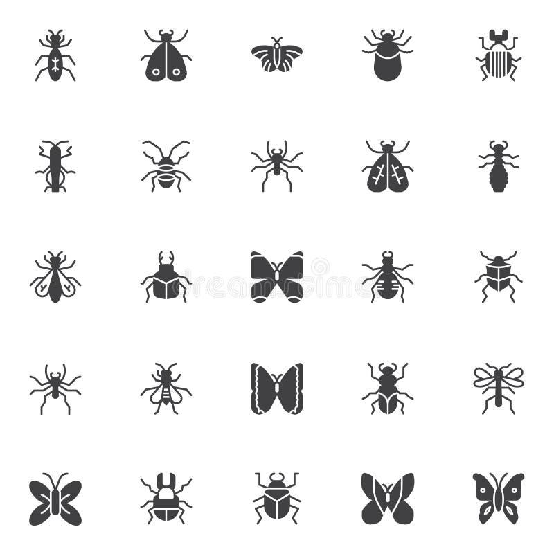 Icone di vettore degli insetti e degli insetti messe illustrazione vettoriale