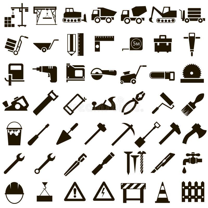 Icone di vettore degli strumenti della costruzione e della costruzione fotografie stock libere da diritti