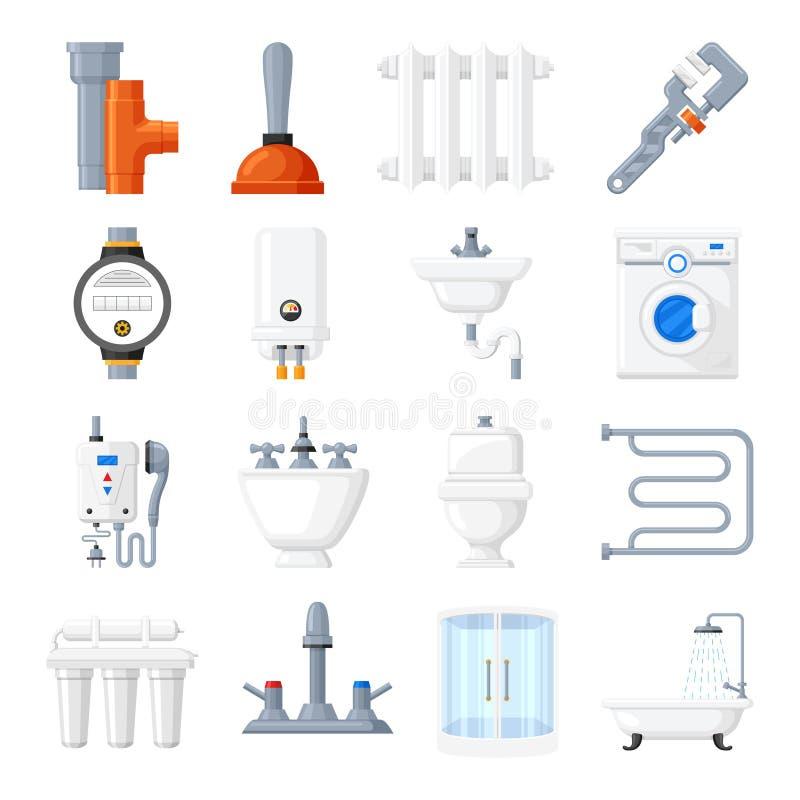 Icone di vettore degli strumenti e dell'impianto sanitario illustrazione di stock