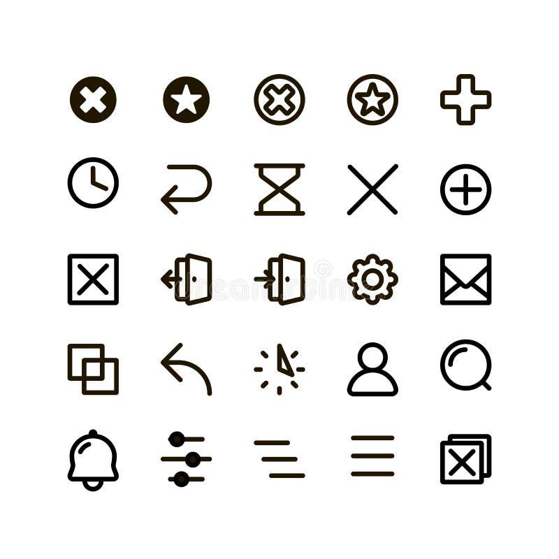 icone di vettore dei bottoni descritte il nero messe Il piano semplice ha contornato le icone di web sui precedenti bianchi illustrazione di stock