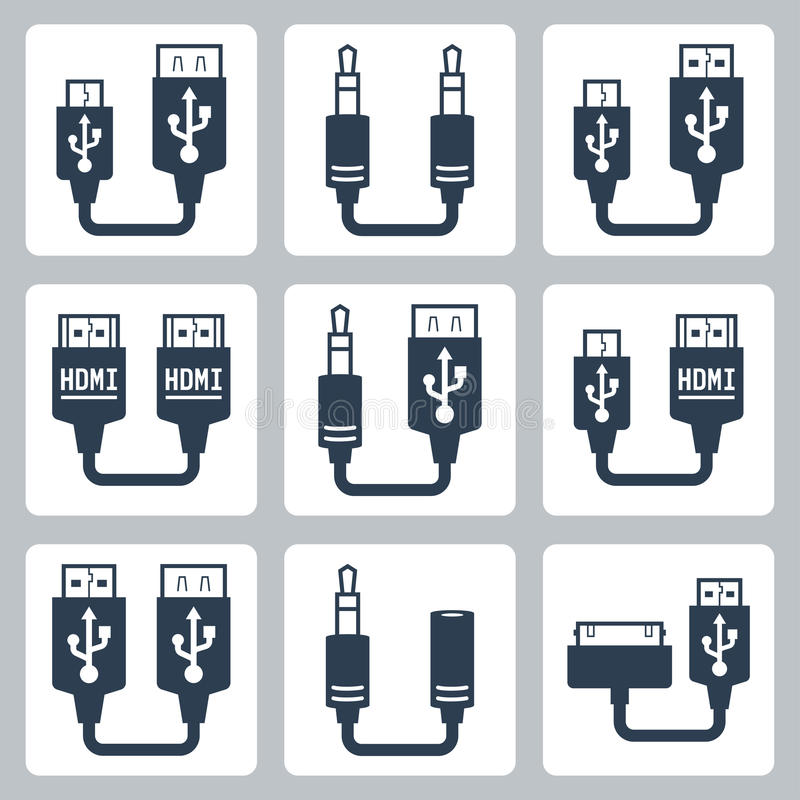 Icone di vettore dei connettori dell'adattatore royalty illustrazione gratis