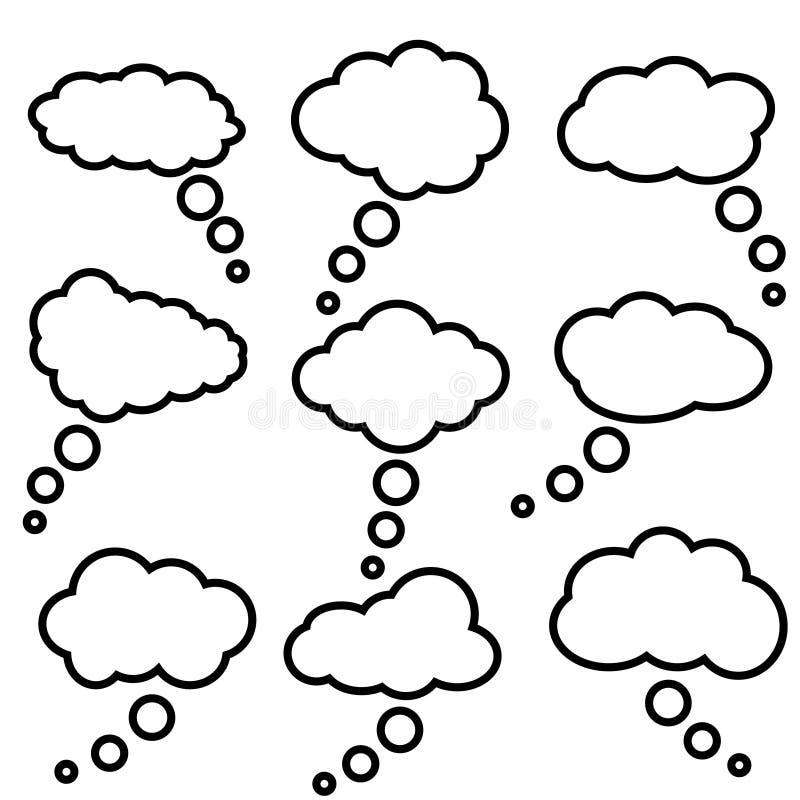 Icone di vettore dei fumetti della nuvola accumulazione Insieme dell'illustrazione di vettore dei fumetti della nuvola illustrazione di stock