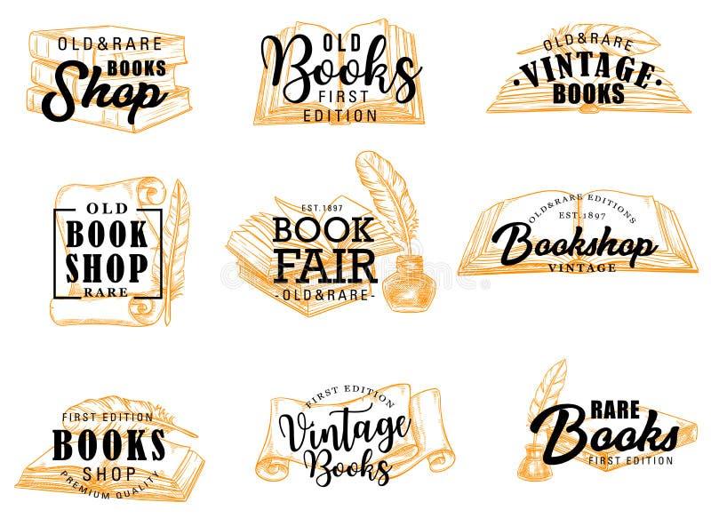 Icone di vettore dei manoscritti e dei libri, iscrizione illustrazione di stock
