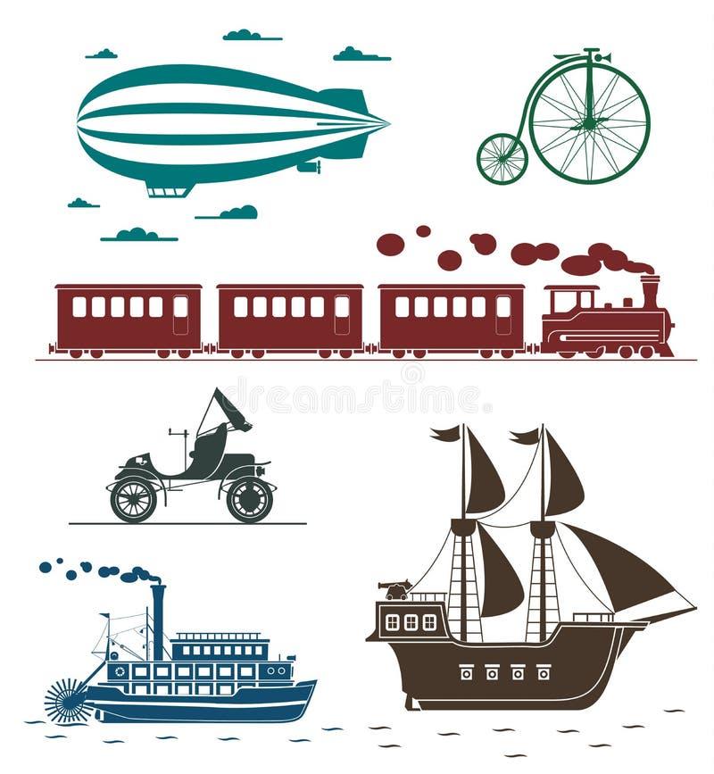 Icone di vettore dei mezzi di trasporto d'annata royalty illustrazione gratis
