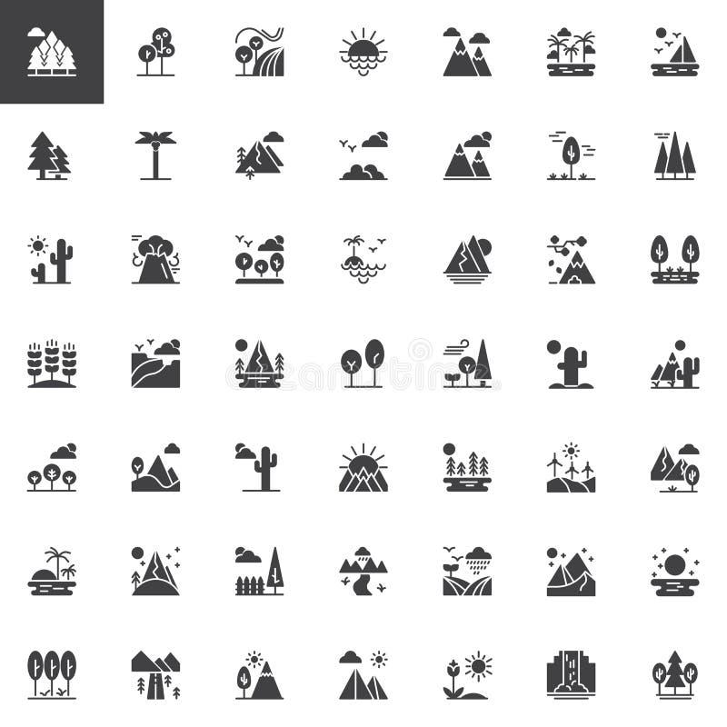 Icone di vettore dei paesaggi della natura messe illustrazione vettoriale