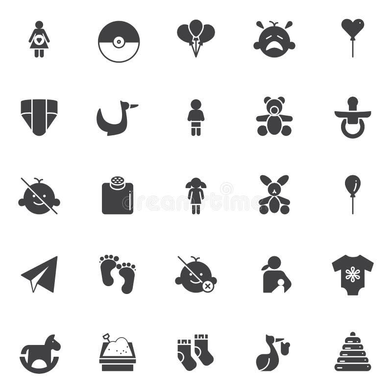 Icone di vettore del bambino messe royalty illustrazione gratis