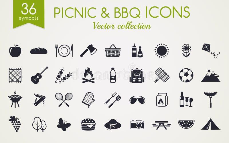 Icone di vettore del barbecue e di picnic illustrazione di stock