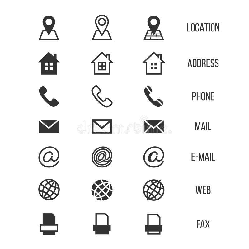 Icone di vettore del biglietto da visita, casa, telefono, indirizzo, telefono, fax, web, simboli di posizione royalty illustrazione gratis