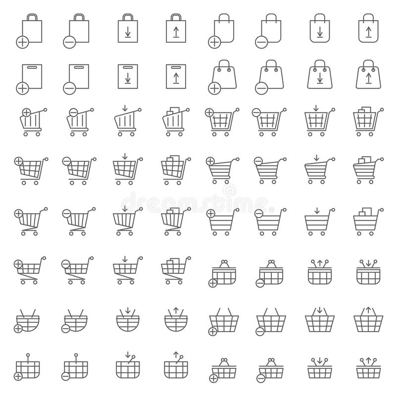 Icone di vettore del canestro del negozio o del carrello per le mercanzie ed il commercio elettronico di web illustrazione di stock