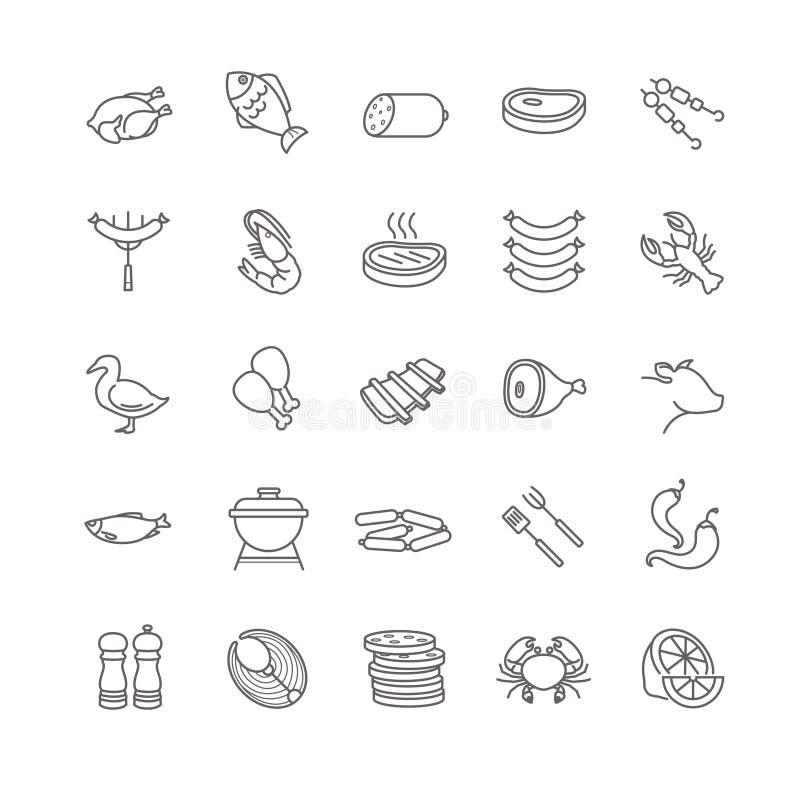 Icone di vettore del pesce e della carne royalty illustrazione gratis