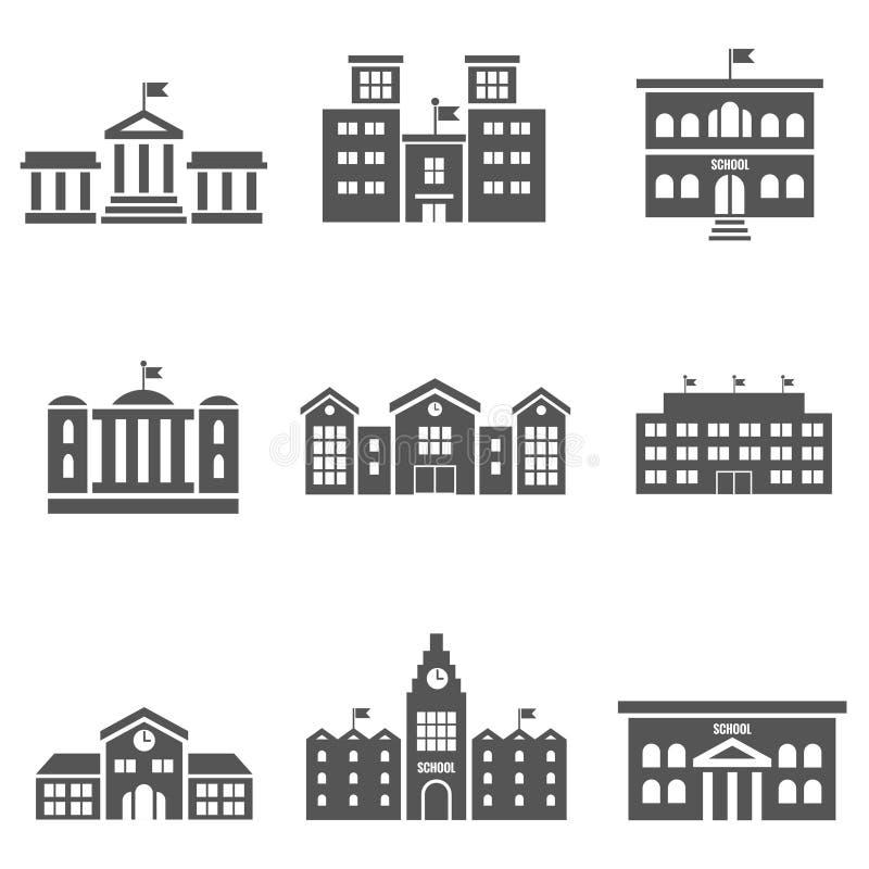 Icone di vettore dell'edificio scolastico royalty illustrazione gratis