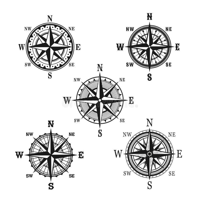 Icone di vettore della bussola nautica marina di navigazione illustrazione vettoriale