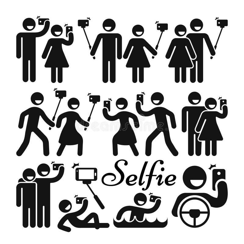 Icone di vettore della donna e dell'uomo del bastone di Selfie messe illustrazione di stock