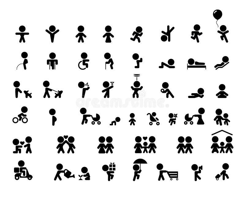Icone di vettore della famiglia messe nella progettazione piana illustrazione vettoriale