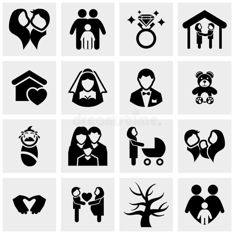 Icone di vettore della famiglia messe su gray illustrazione vettoriale