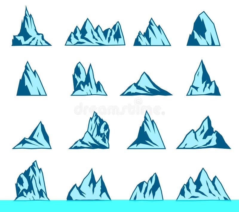 Icone di vettore della montagna messe illustrazione vettoriale