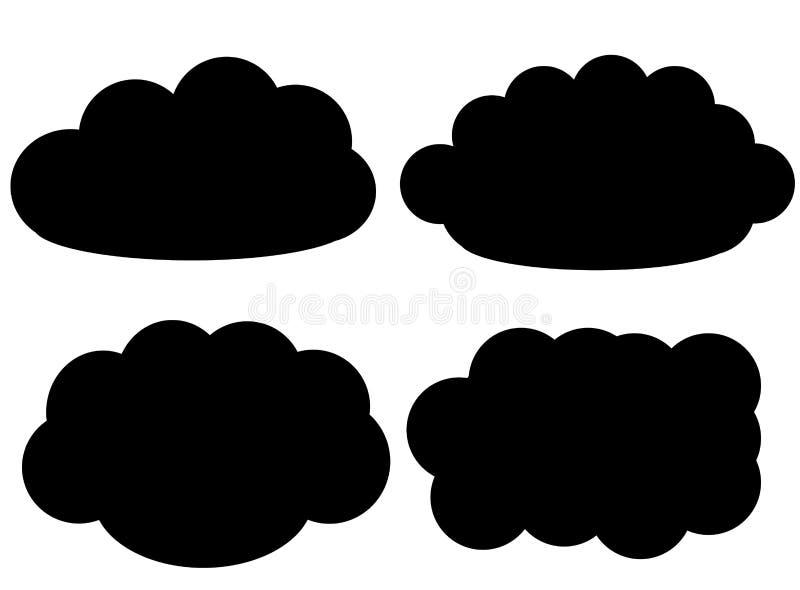 Icone di vettore della nuvola nera isolate sopra fondo bianco illustrazione vettoriale